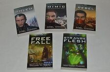 LOT OF 5 Original Android Paperback Books +Free Fall +Golem +Mimic +Rebel