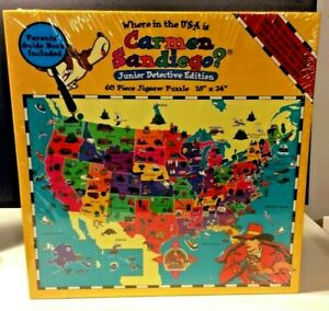 1995 Where in the USA IS Carmen Sandiego? Jr. Detective Jigsaw Puzzle New Sealed