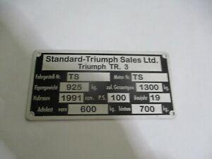 Nameplate Triumph Tr 3