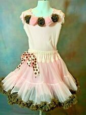 Oopsy Daisy Baby Pink with Brown Ruffles Pettiskirt & Shirt Top Girls 6-8 Pagent