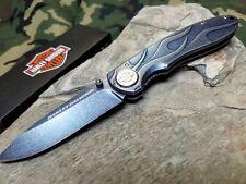 Couteau Harley Davidson TEC-X Lame Acier 440 Manche Acier Stonewash Blue CA52121