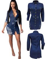 2XL Women Sexy Denim Jeans Long Sleeves Buttons Ripped Casual Club Bodycon Dress