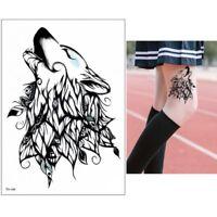 Temporäres Tattoo Wolf Federn Design Klebetattoo Körperkunt