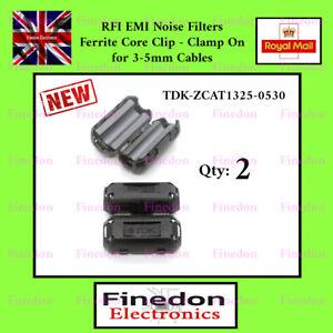 2 x Black Clip On Clamp RFI EMI Noise Filters Ferrite 3- 5mm UK Seller