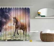 Walking Horse Photographic Fabric Shower Curtain Western Country Bath Decor