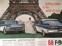 Vintage 1957 FORD Fairlane Paris France Eiffel Tower Jacques Heim 58 Car Ad