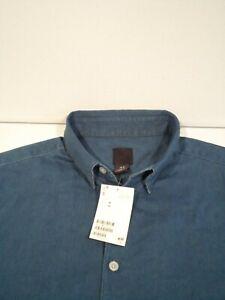 NEW H&M Men's Denim Shirt Size Medium Blue S/S Button Down Top