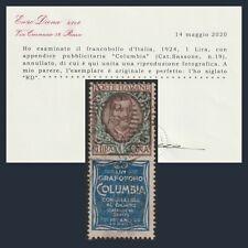 Regno d'Italia 1924 Pubblicitario Columbia Lire 1 n. 19 usato Certificato Diena