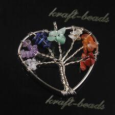 Natural Gravel Quartz Crystal Heart Tree Of Life Chakra Stone Pendant Jewelry