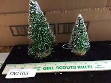Dw103 Lot 2 Vintage Bottle Brush Putz Christmas Trees 6 inch 4 inch