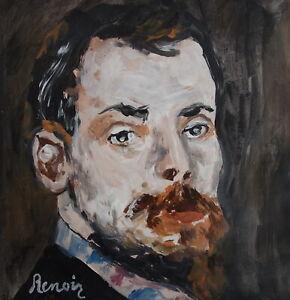 Fine Impressionist Portrait oil painting, signed Renoir w COA, Degas Monet era