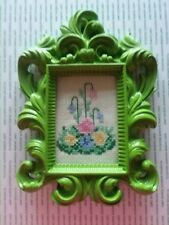 Victorian Cross Stitch Flowers, Complete and Framed, Vintage