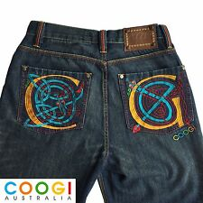 Vintage Mens COOGI Jeans Baggy Style 32x34 Colorful Embroidered