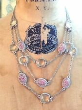 Pink Rhinestone Clear Glass Bead Silver Necklace