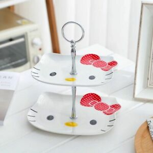 Cute Hello Kitty Dessert Plate Two Layers Cake Fruit Shelf Afternoon Tea Party