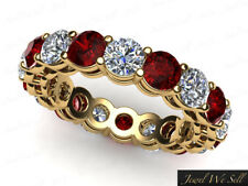 5.76Ct Round Ruby Diamond Shared Prong Gallery Eternity Band Ring 14k AA I SI2