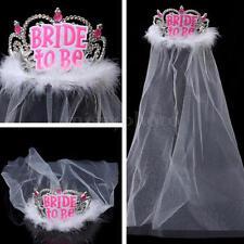 Bride to Be Tiara With White Veil Diamante Hen Night Party Do Accessory