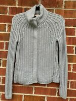 Banana Republic Gray Cardigan Size Small Snap Button Cable Knit Sweater