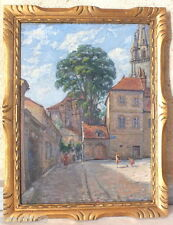 huile sur contreplaqué peinture tableau de F.Grenaud scène de village 1932