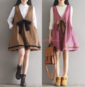 Women Girls Casual Corduroy Overalls Bib Dress Pinafore Dress Loose Sundress