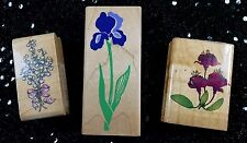 Set/3 Vintage Rubber Stamps Stampede Comotion Flowers Iris Lily Valley Fuschia