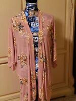 Womens New Cacia kimono Coral/ Gold floral sz L