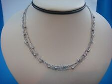"14K WHITE GOLD 3 STRINGS NECKLACE-CHOKER WITH SMALL DIAMOND BARRELS 15"" LONG"