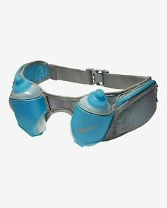 Nike Double Flask Running Belt Blue Form Fitting Shape 20 oz  NEW