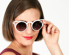 Designer vintage style white cat eye sunglasses QUAY AUSTRALIA Intruder