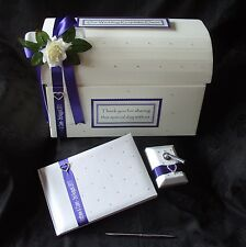 Personalised Wedding Post Chest Card Box Wishing Well Guest Book Pen