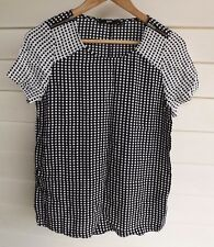Sportsgirl Women's Black & White Top with Zippers - Size 8