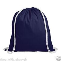 10 x Plain Blue 100% Cotton Drawstring Rucksack Tote Bags Ladies Backpack Bag BN