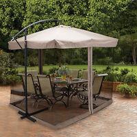 9X9' Hanging Offset Umbrella Outdoor Sun Shade w/Mesh Patio Tilt Post Gazebo Tan