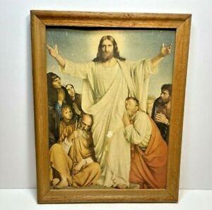 Vintage Jesus Christ Resurrection Print Religious Art 10 x 13 Wood Framed