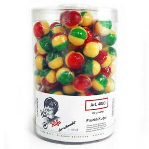 Küfe Frucht -Kugel -Lutscher Lolly Lollypop 100 Stück /Dose Fruchtig