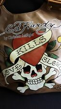 Don Ed Hardy Love Kills Slowly Bronze Handbag  Purse Bag Tote Christian Audigier