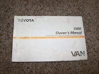 1986 Toyota Van Factory Owner Owner's User Guide Manual RARE 2.2L 4 Cylinder