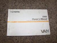 1986 Toyota Van Factory Owner Owner's User Guide Manual RARE 2.2L 4 Cylinder