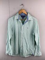 Tommy Hilfiger Men's Long Sleeve Button Up Shirt Size M Green Stripe
