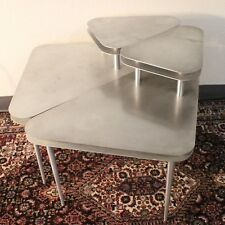VTG Step Side Table Pair Aluminum Triangle Pick Mid Modern Space Atomic End