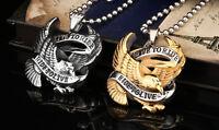 Harley Silver Retro Punk Rock Motor Biker Eagle Stainless Steel Pendant Necklace