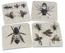 """Drink Coasters - Resin and Cork  - """"French Bees"""" - Set of 4 10.5cm x 10.5cm"""