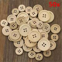Lots 50Pcs Mixed Wooden Buttons Natural Color Round 4-Holes Sewing Scrapbooking
