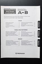 Pioneer A-8 Original mode d'em Ploi / User / Propriétaire`s manuelle