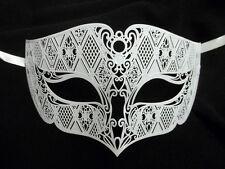 White Male Diamond Design Laser Cut Venetian Masquerade Metal Filigree Mask Men