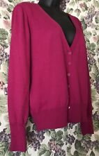 PINK FUSCHIA SWEATER BUTTON UP V NECK L LARGE WORTHINGTON