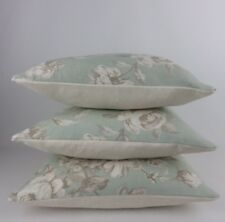 """Duck Egg Blue Vintage Rose Floral Fabric Pillow Cushion Covers 3 x 16"""""""