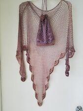 Gorgeous Dressy Mauve Lavender Beaded & Pearls Shawl & Evening Bag Set Perfect!
