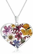 NEW Sterling Silver Multicolor Pressed Flower Heart Pendant Necklace 18