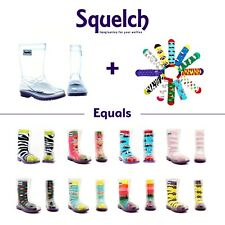 Squelch Kids Transparent Wellies - Childrens Wellington Rain Boots, Welly Socks